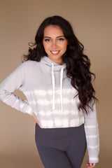 Ezra Crop Tie-Dye Hoodie- Light Grey