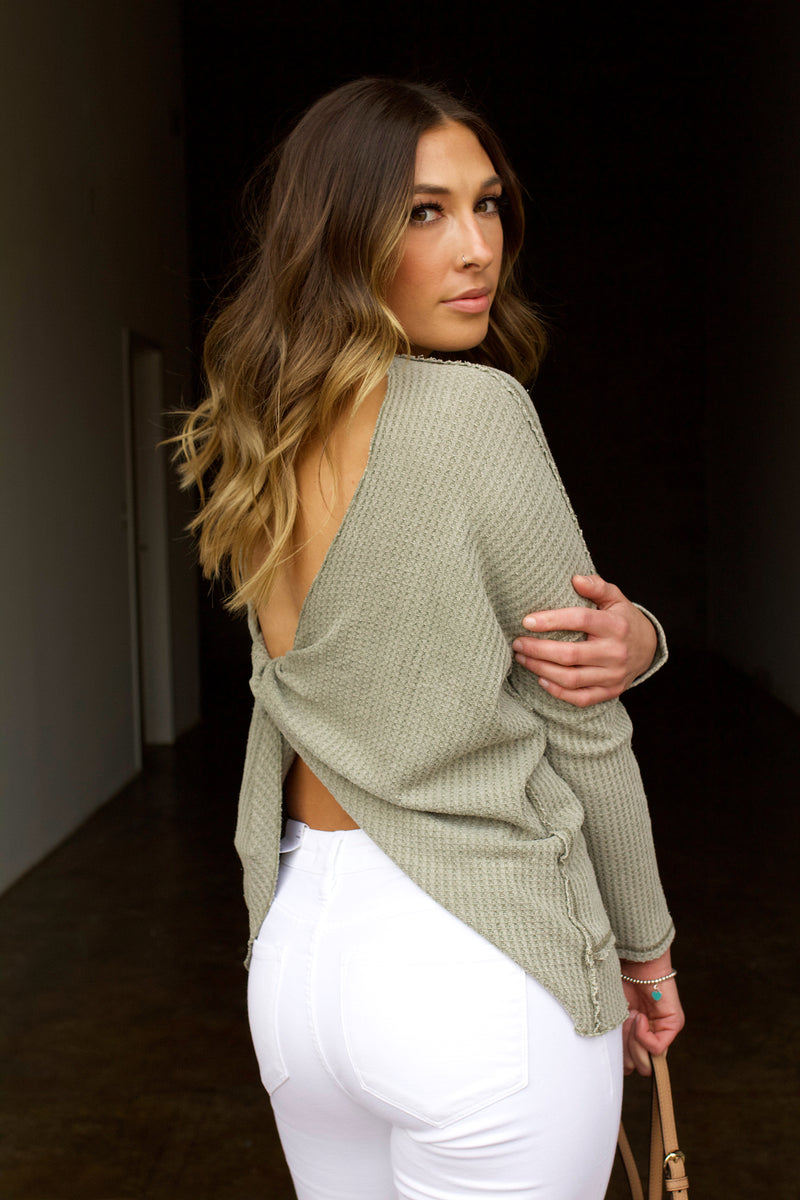 Take It Back Waffle Knit Twist Back Top- Light Olive