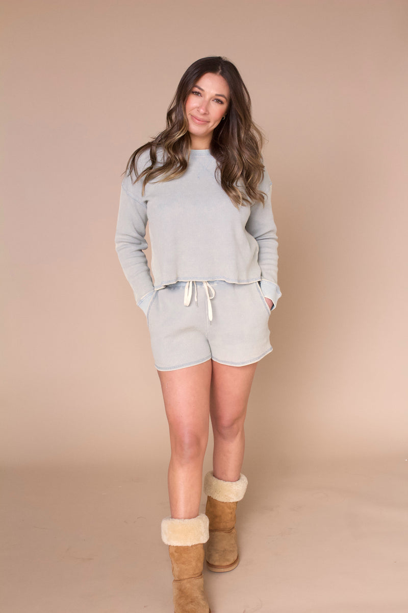 Talia Thermal Knit Top- Mint Grey