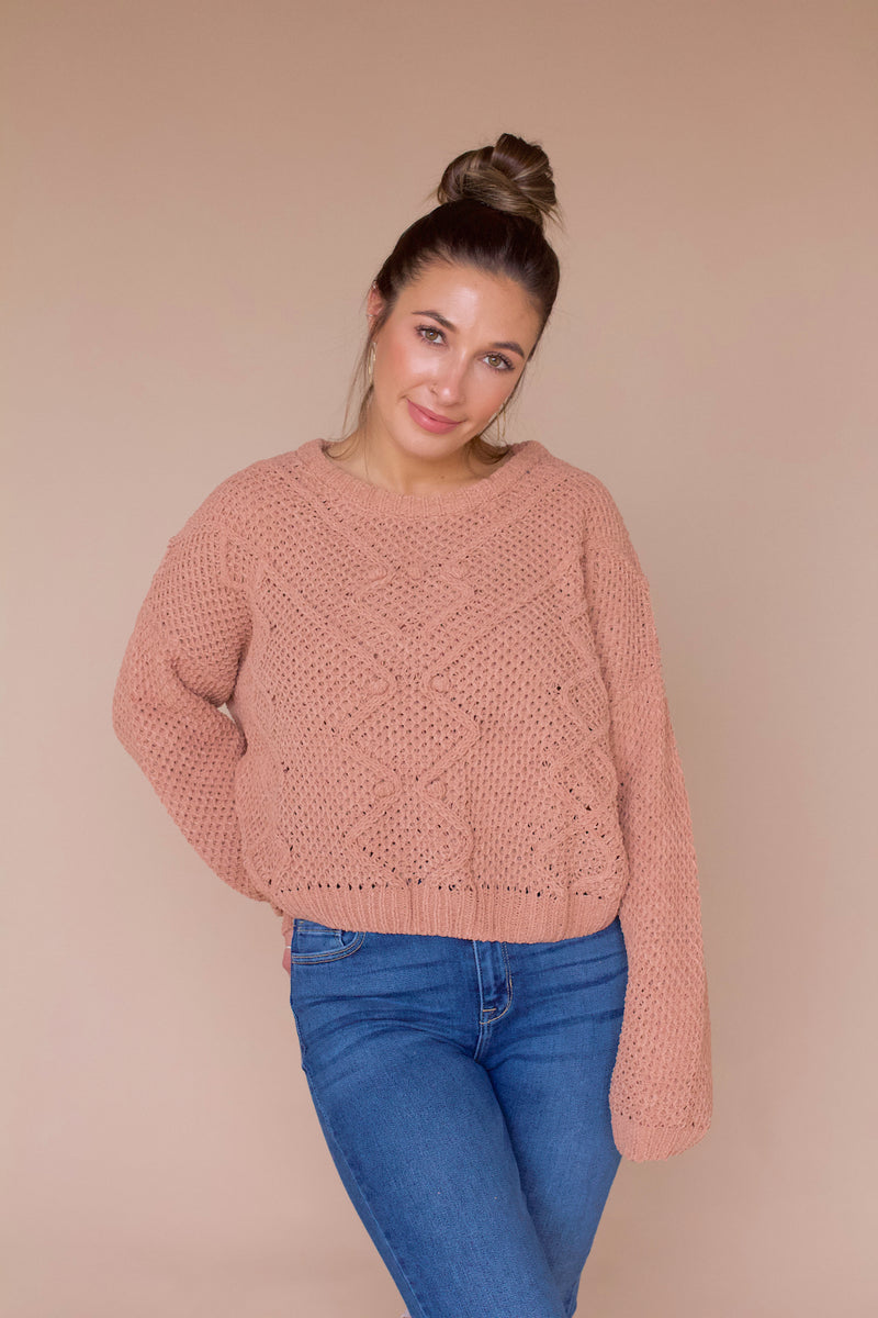 Kennedy Chenille Sweater- Light Clay