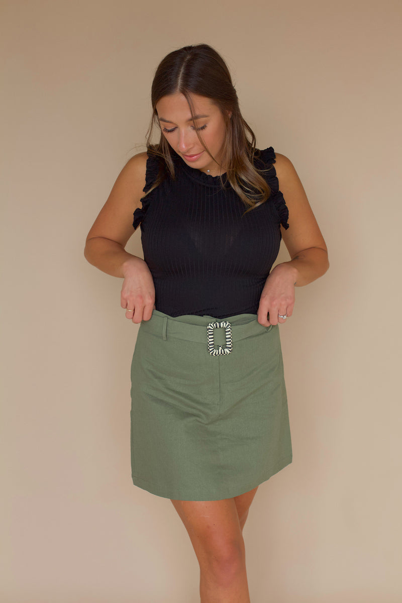 Take Your Time Belted Skirt- Olive