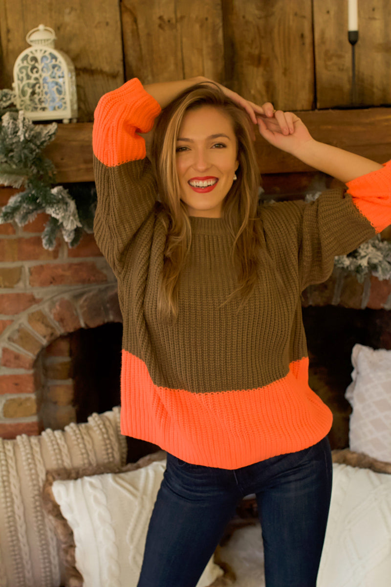 Stand Out Colorblock Sweater- Mocha/Coral