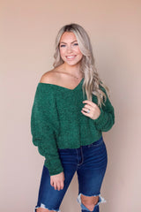 Day Dreamer Chenille Sweater- Dark Green