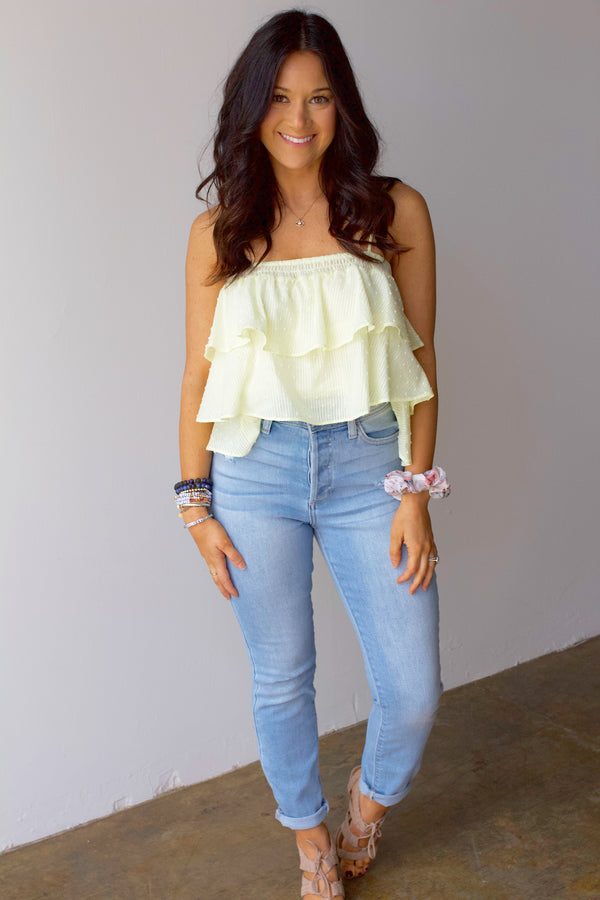 Make Lemonade Tiered Ruffled Top- Lemon