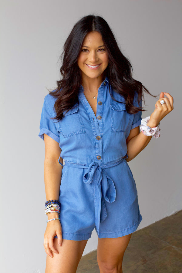 Real Talk Romper- Light Blue
