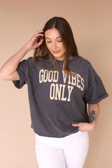 Good Vibes Only Short Sleeve Cord- Charcoal