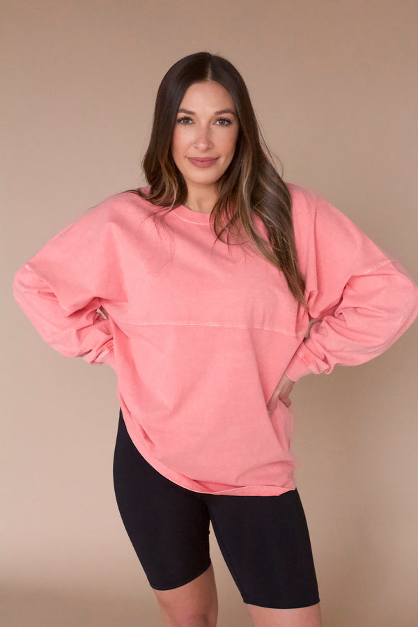 Meet Your Match Pullover- Coral