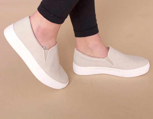 On The Run Slip On Platform Sneakers- Stone