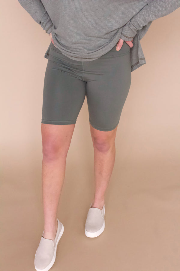 Hidden Gem Biker Shorts- Grey Sage