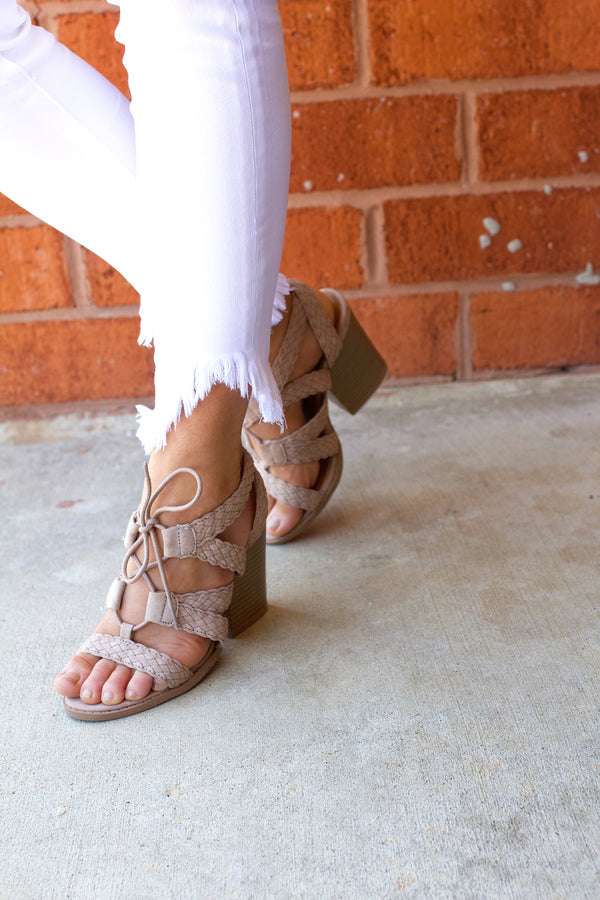 A Little Tied Up Heels- Light Taupe