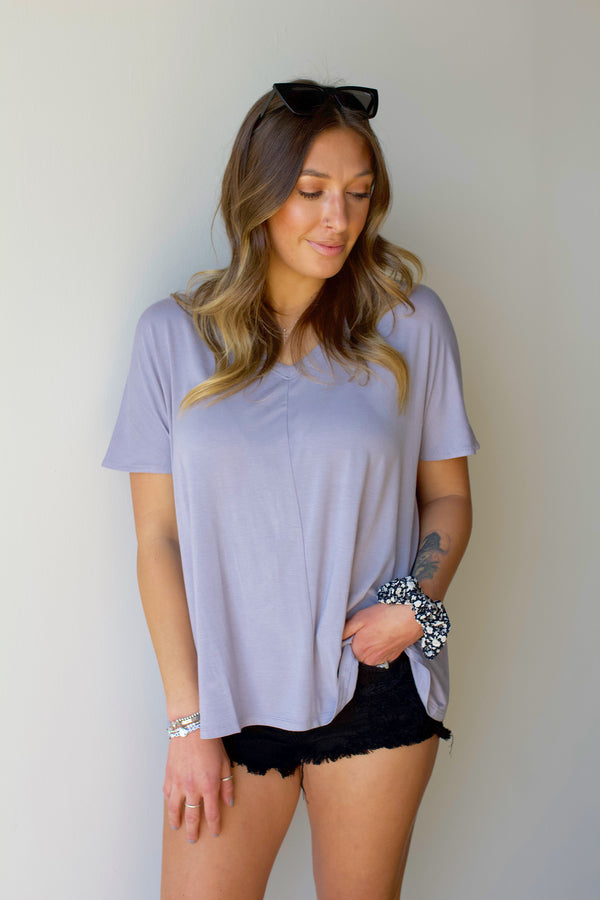 Remember Me Tee- Lilac Grey