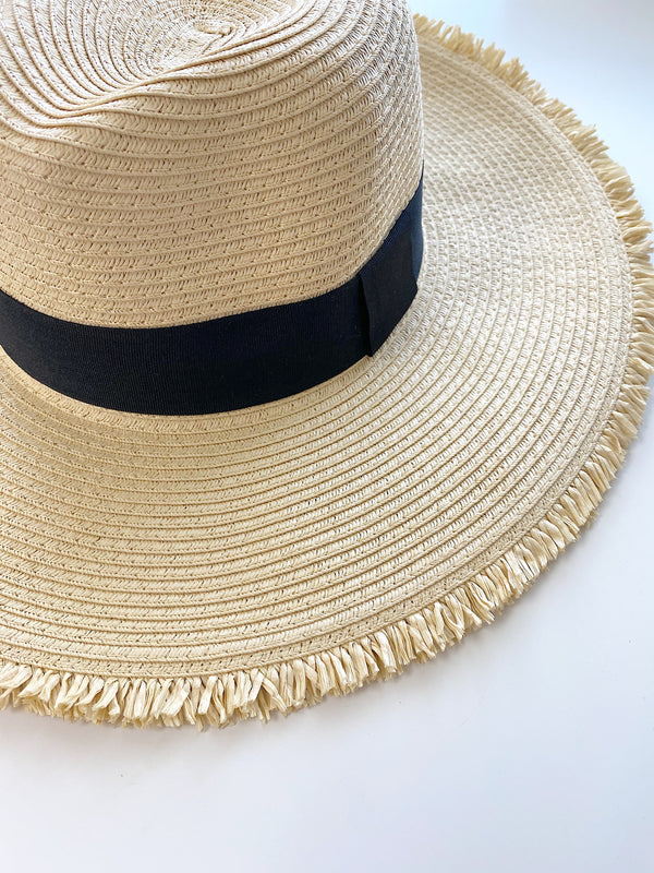 Sunny Side Straw Hat- Cream/Black