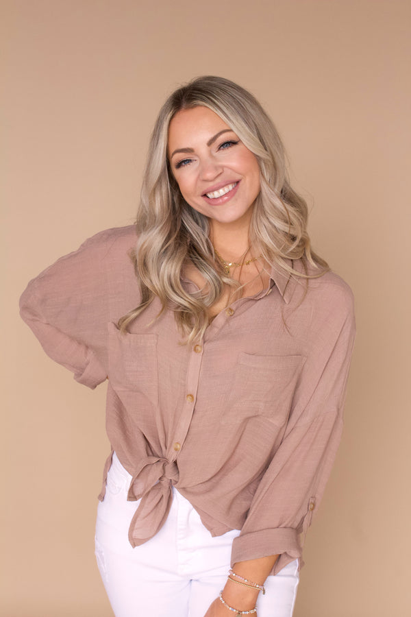 Carried Away Button Down- Taupe