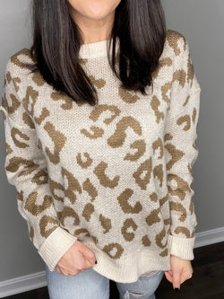 Just A Little Bit Leopard Print Sweater- Cream/Mocha