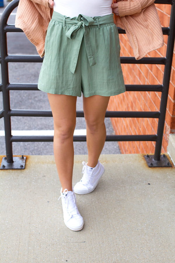 Just Right Paperbag Shorts- Sage