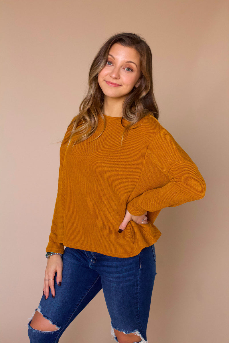 Tanner Ribbed Knit Top- Mustard
