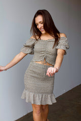 Dance With Somebody Smocked Skirt- Light Olive