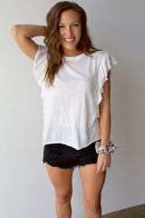 On My Mind Ruffle Sleeve Top- White