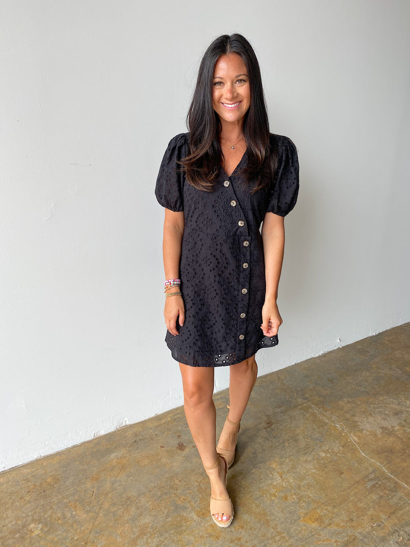 Couldn't Resist Eyelet Dress- Black