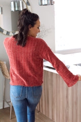 Love More Chenille Knit Sweater- Brick