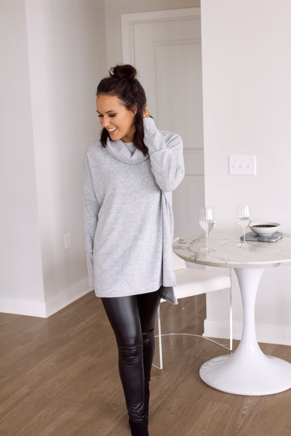 Promise Me Cowl Neck Tunic- Heather Grey