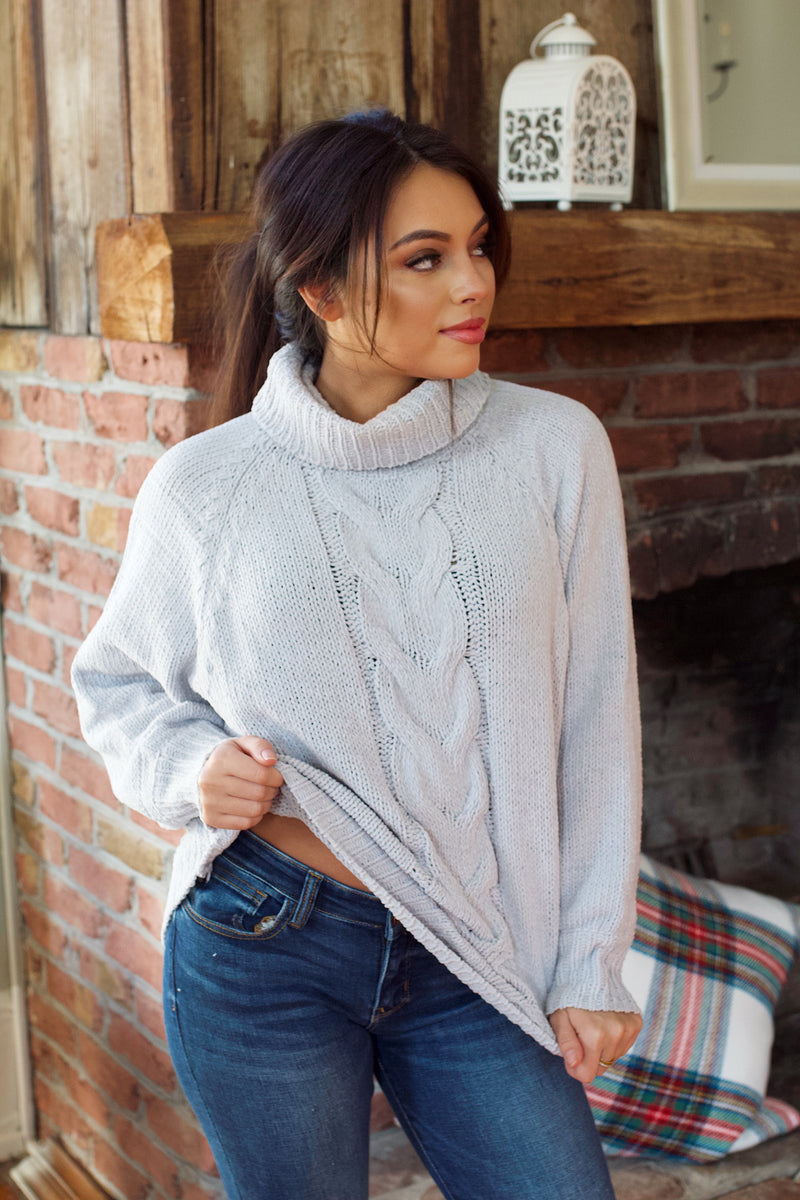 Almost There Chenille Sweater- Silver Grey