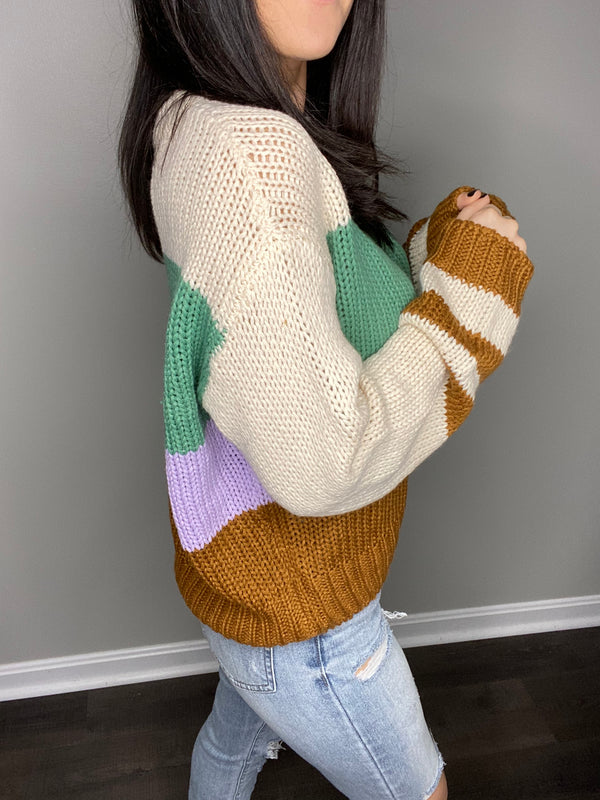 """Totally Irresistable"" Colorblock Sweater- Multi"