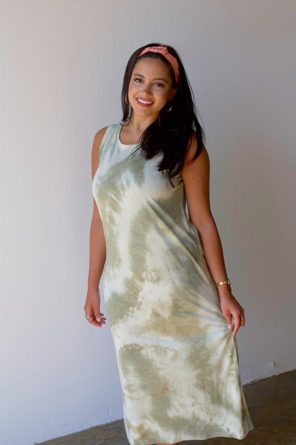 All For You Tie-Dye Maxi- Olive
