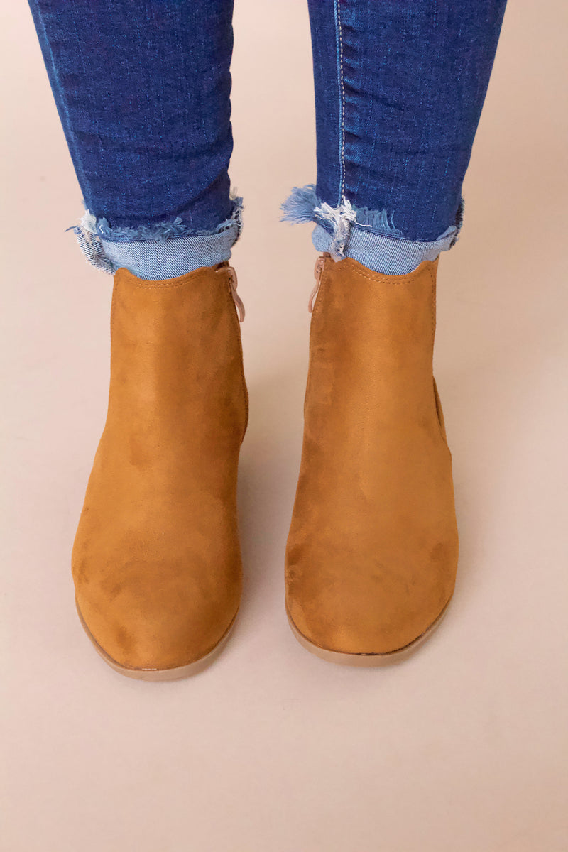 Ever Faux Suede Booties- Camel