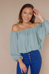 Come And Go Off The Shoulder Top- Sage
