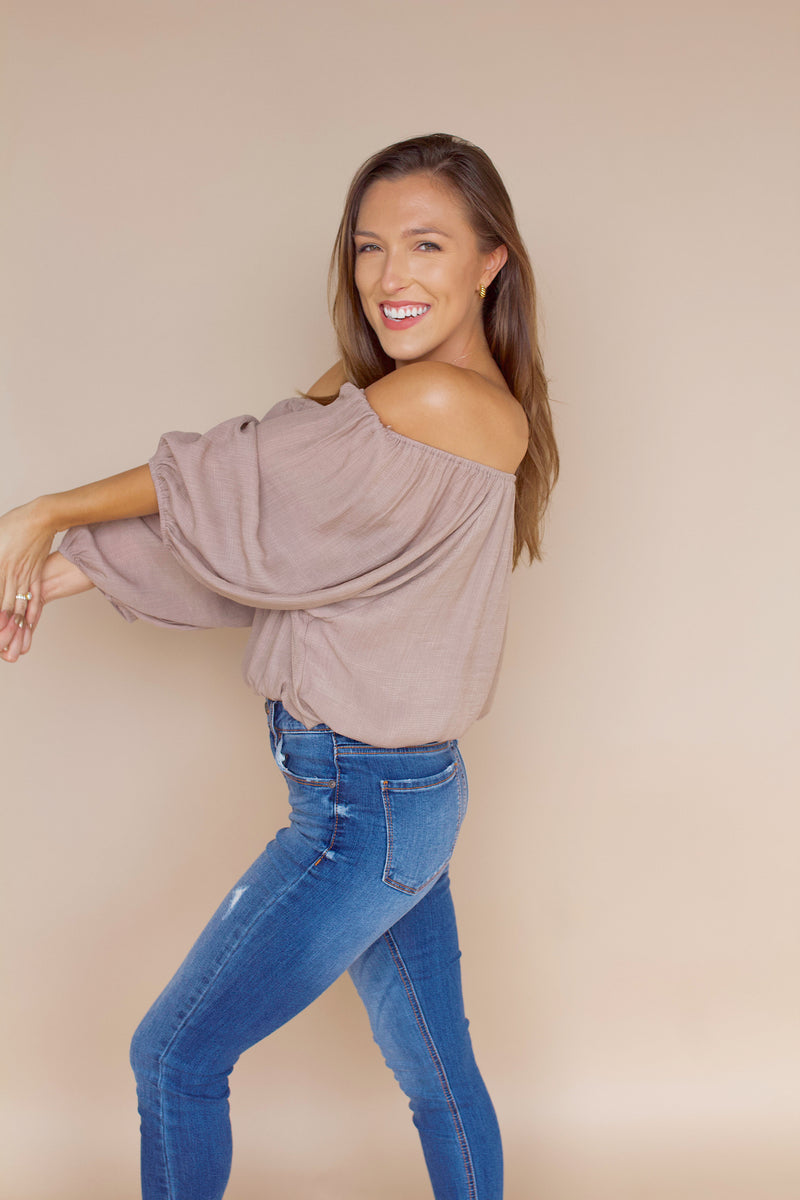 Come and Go Off The Shoulder Top- Taupe