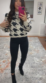 Sadie Houndstooth Sweater-Black/Cream