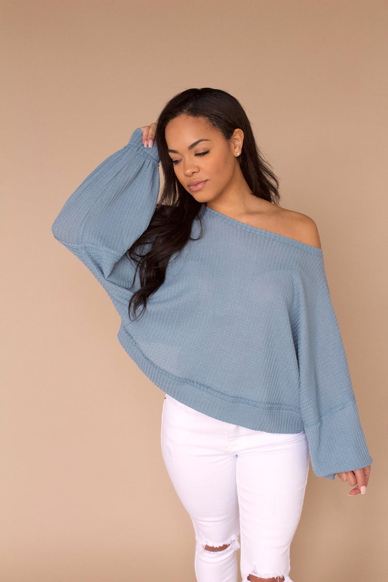 Let's Catch Up Waffle Knit Top- Dusty Blue
