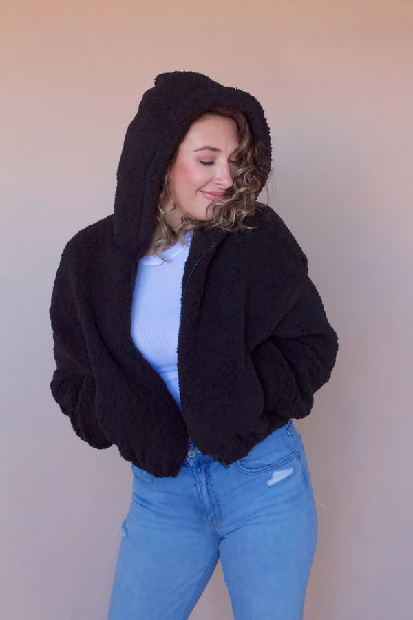 Briar Teddy Coat- Black
