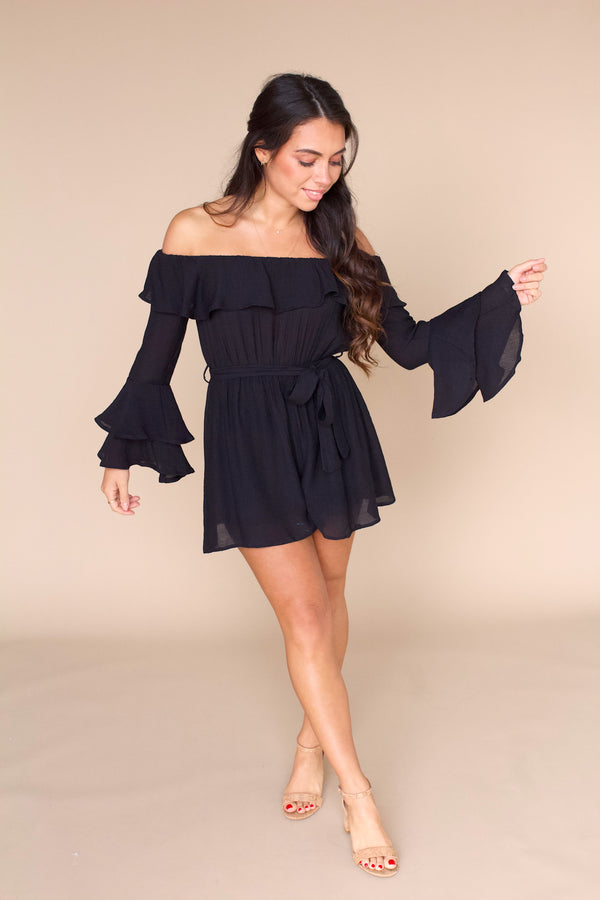 In My Head Romper- Black
