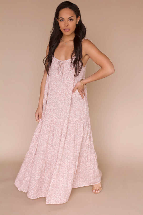 Stuck On You Floral Maxi Dress- Blush