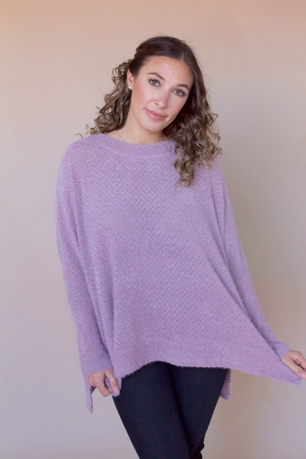 Lawson Brushed Eyelash Knit Tunic- Mushroom