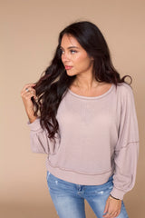 Let's Catch Up Waffle Knit Top- Dusty Mauve