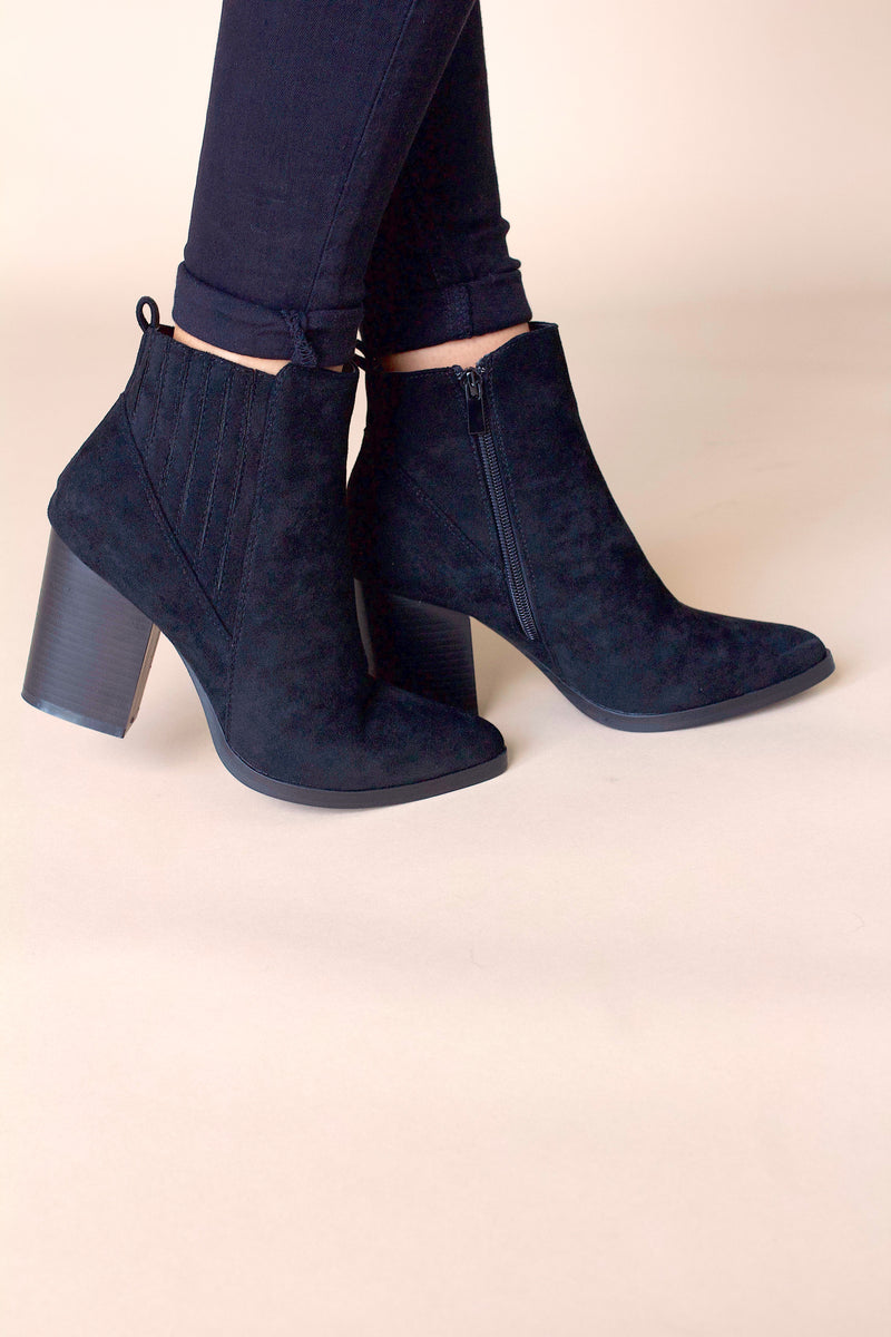 Taytum Suede Booties- Black