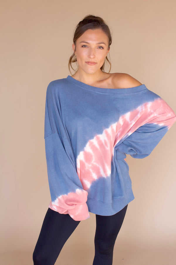 Fun and Games Tie-Dye Pullover- Blue/Pink