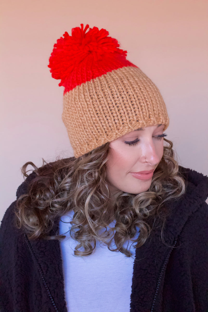 Dylan Oversized Pom Beanie- Neon Orange/Camel
