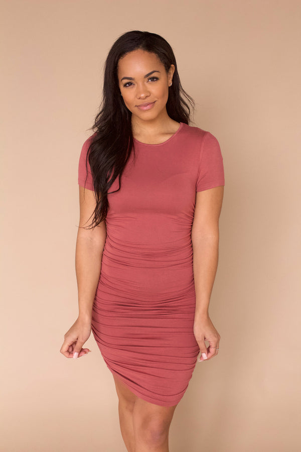 Best Kept Secret Ruched Dress- Clay