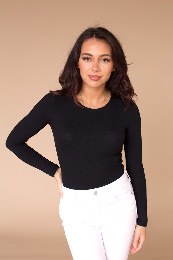 Effortless Ribbed Bodysuit- Black