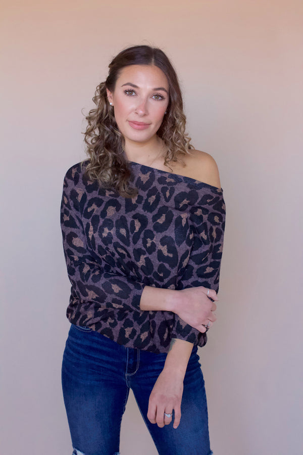Reese Off The Shoulder Top- Leopard Mocha