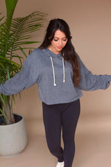 Campfire Cropped Hoodie- Heather Grey