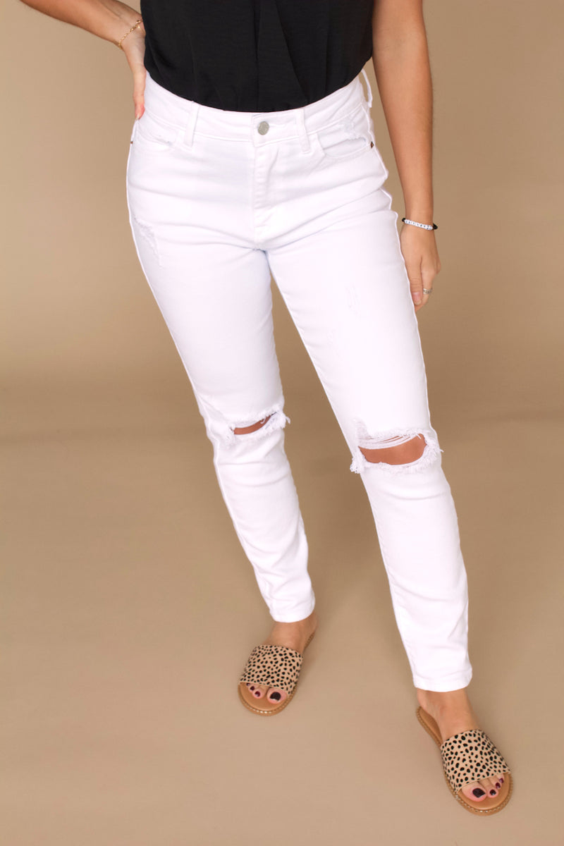 Good To Go Distressed Skinny Jeans- White