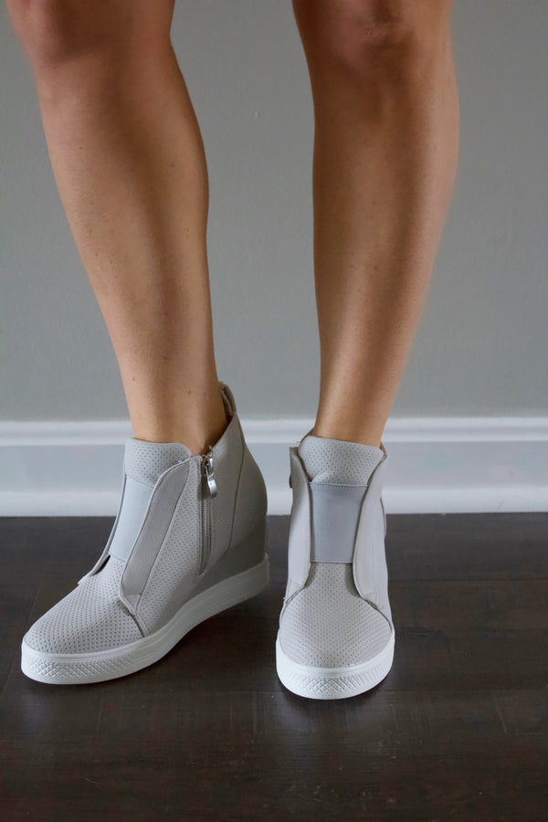 """Reese"" Wedge Sneakers- Light Grey"