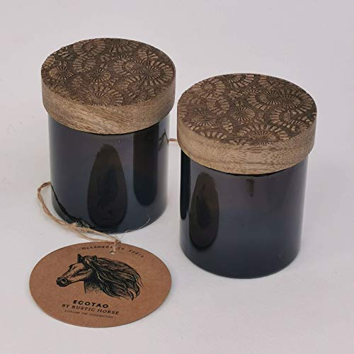 RUSTIC HORSE Artsy Wood and Glass 100ml Kitchen jar for Storage and Decor. Set of 2 (Wild Poppies)