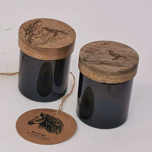RUSTIC HORSE Artsy Wood and Glass 100ml Kitchen jar for Storage and Decor. Set of 2 (Perched Bird)