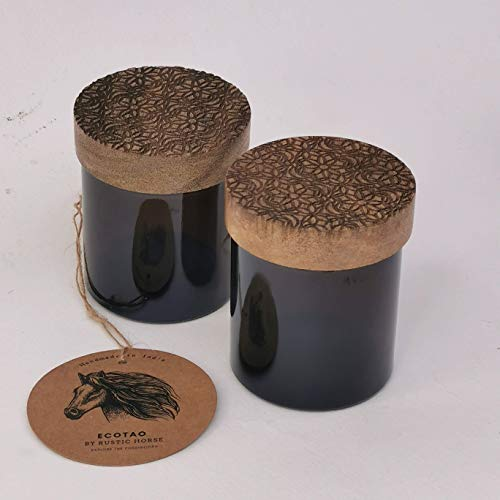 RUSTIC HORSE Artsy Wood and Glass 100ml Kitchen jar for Storage and Decor. Set of 2 (Zentangle)